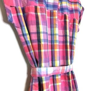 GAP Dresses - NWT gap kids madras plaid pink shirt dress school